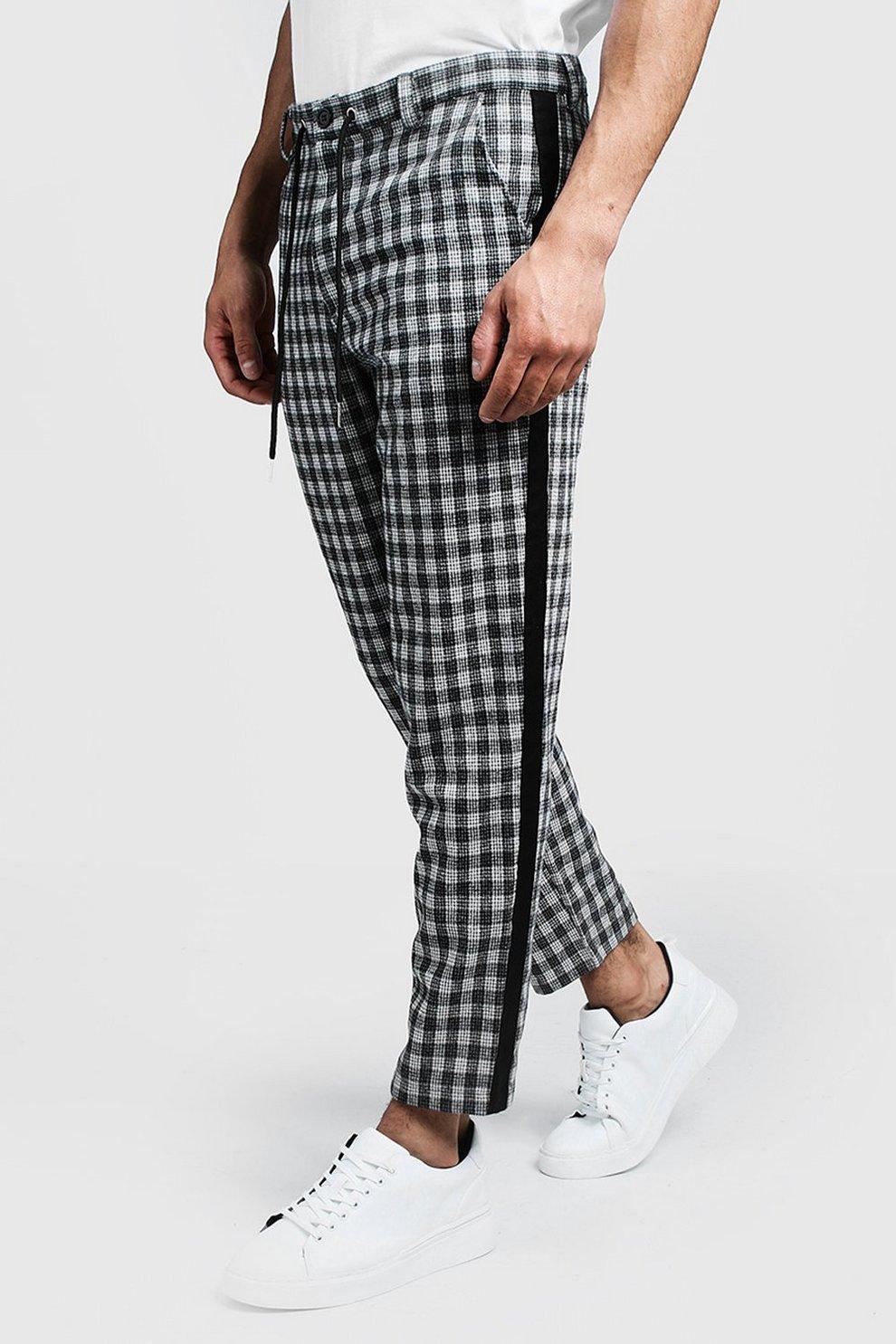 b4f3b13922 Pantalones de pitillo a cuadros con detalle lateral