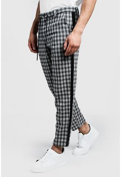 Mens Grey Check Tapered Trouser With Side Detail