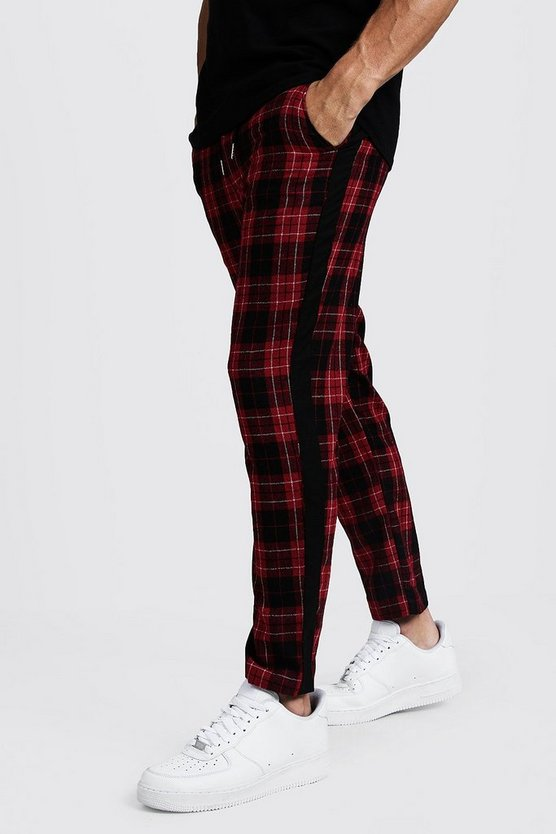 Red Tartan Tapered Pants With Side Panel
