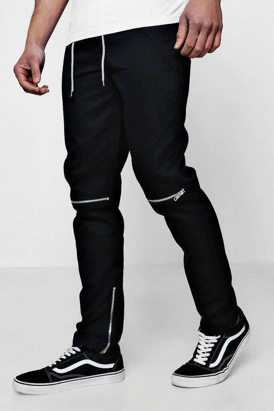 Twill Zip Knee Jogger Style Trousers