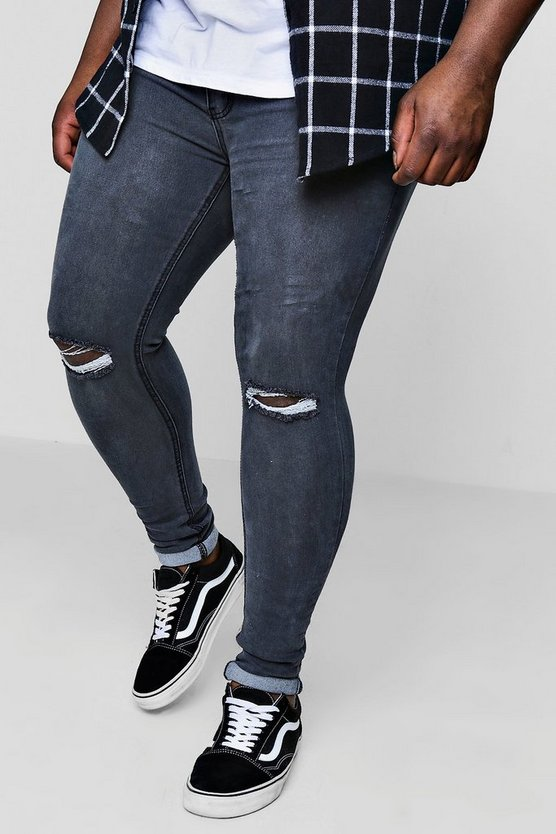 Big And Tall Super Skinny Ripped Knee Jeans
