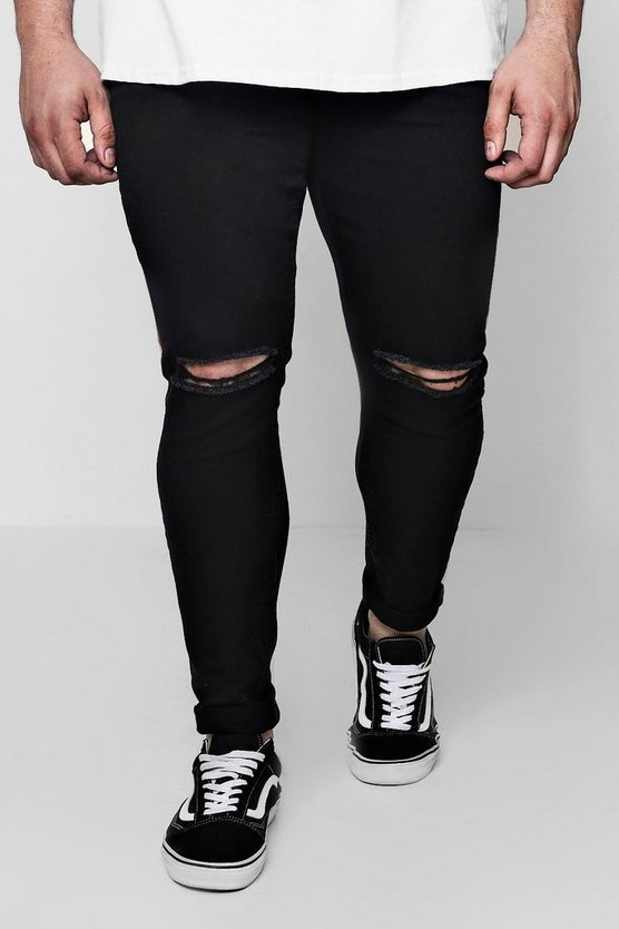 Mens Black Big And Tall Super Skinny Ripped Knee Jeans
