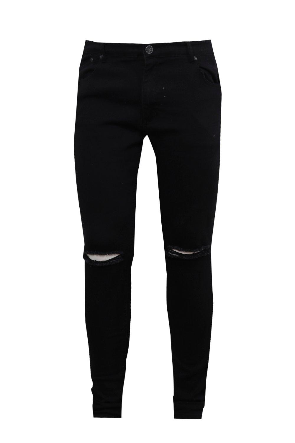 Ripped Tall Skinny Super Big Knee And Jeans black 4pnwI