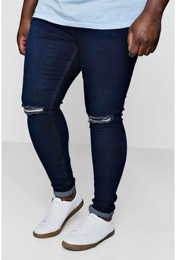 Mens Washed indigo Big And Tall Super Skinny Ripped Knee Jeans
