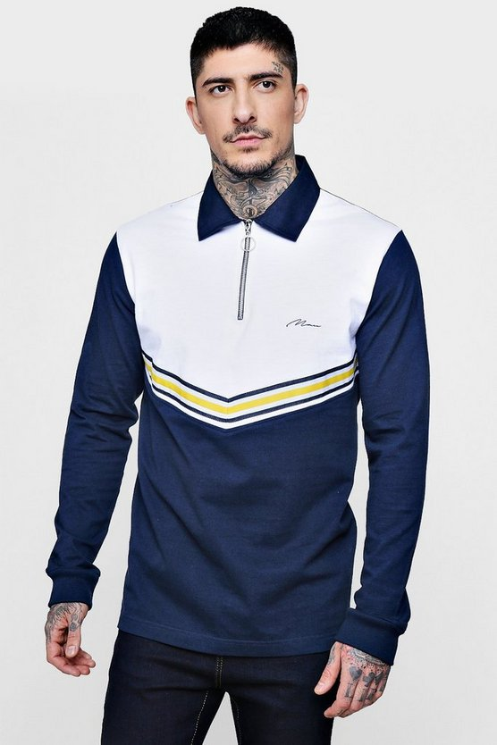Sports Tape Zip Placket Rugby Sweater