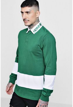 Mens Green Homme Panel Rugby Sweatshirt