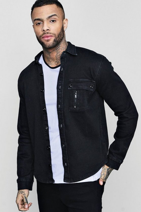Black Denim Stretch Shirt With Zip Detail