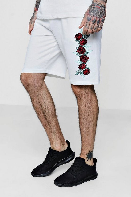 Floral Embroidered Jersey Mid Shorts