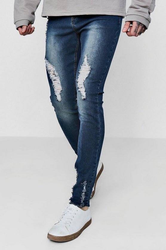 Antique Wash Super Skinny Jeans with Raw Hem
