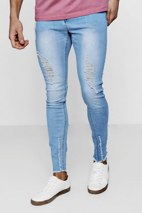 Light Blue Super Skinny Jeans with Raw Hem