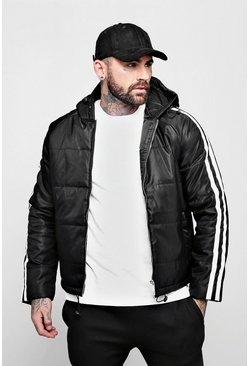 Mens Black Raglan Sateen Puffer With Side Stripe