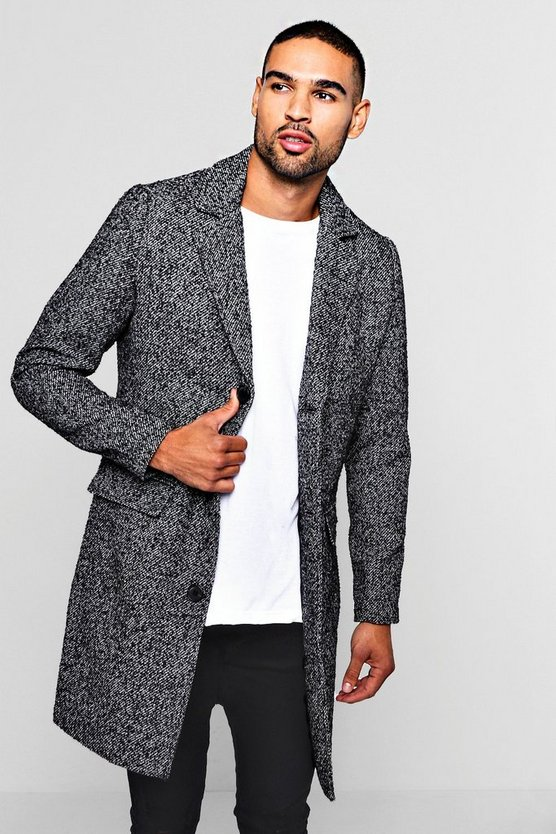 Wool Blend Fabric Overcoat