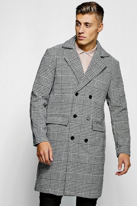 Prince Of Wales Check Wool Look Overcoat