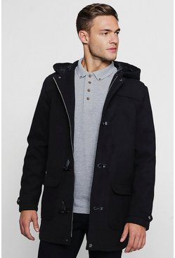 Mens Black Wool Look Hooded Duffle Coat