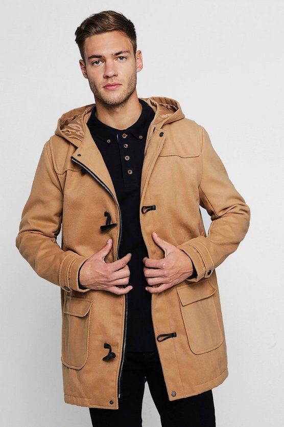 Wool Look Hooded Duffle Coat