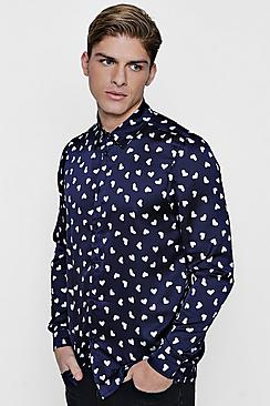 valentines heart print long sleeve shirt