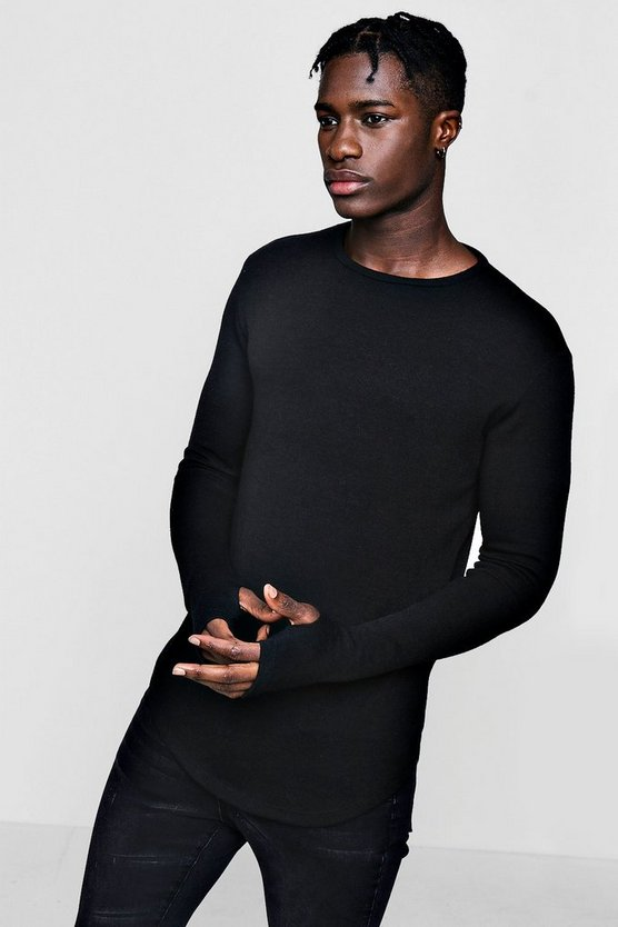 Soft Touch Longline Curved Hem Jumper
