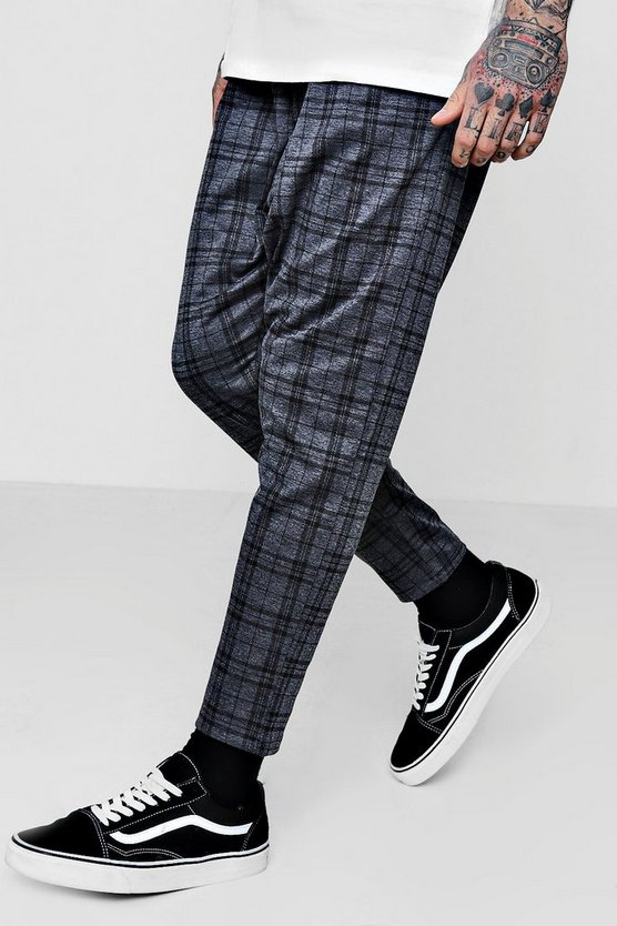 Mens Grey Smart Checked Jogger