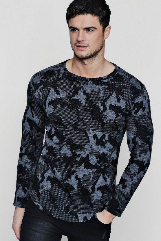 Camo Jaquard Jumper With Curve Hem