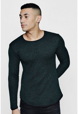 Lightweight Rib Jumper, Green, HOMMES