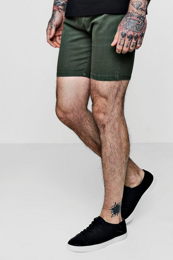 Mens Khaki Super Skinny Fit Denim Shorts