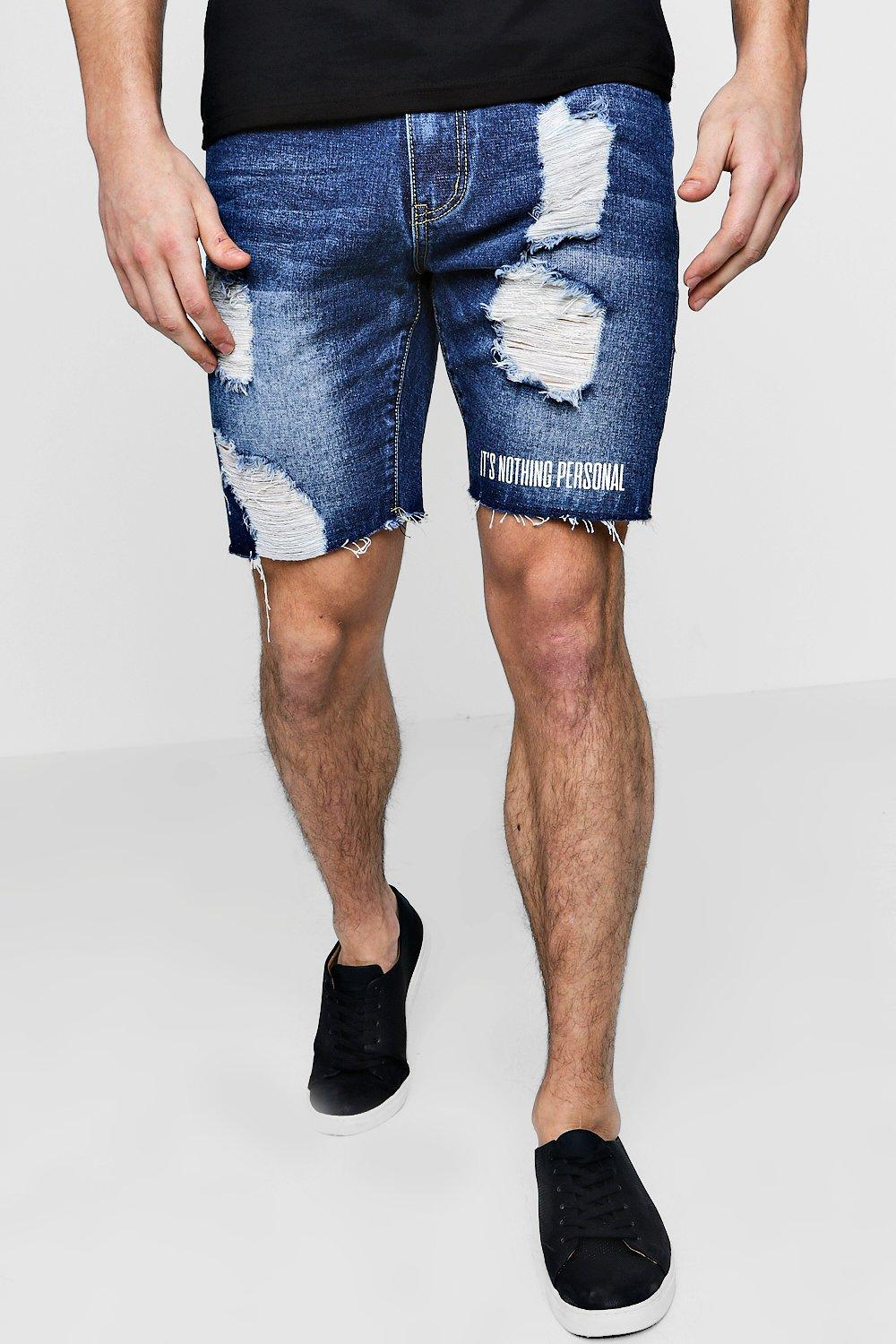 Slim Fit Distressed Denim Shorts With Print