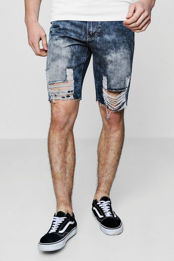 Heavily Distressed Hem Bermuda Denim Shorts