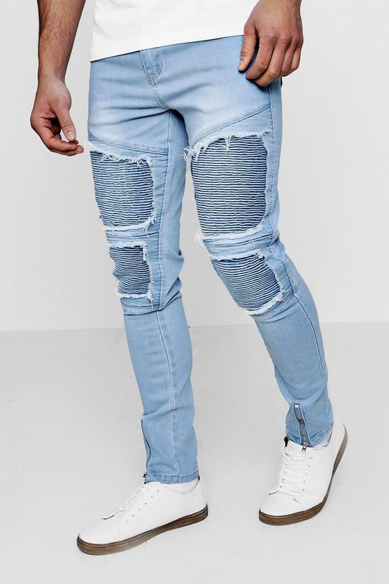 Super Skinny Repaired Biker Jeans