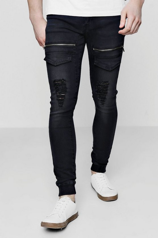 Super Skinny Distressed Cargo Flight Jeans