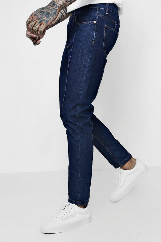 Mens Dark blue Tapered Fit Jeans With Pin Tuck Seam Detail