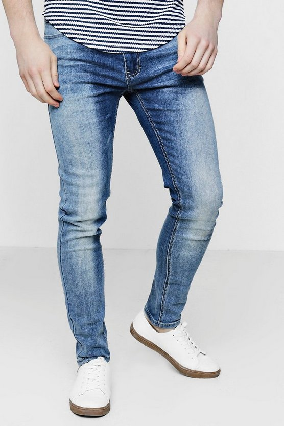 Skinny Fit Washed Blue Denim Jeans