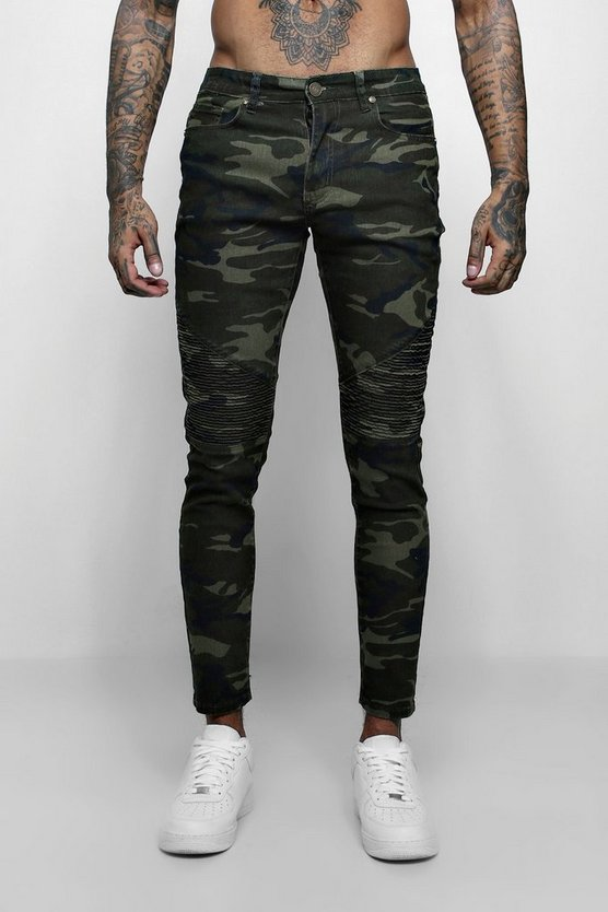 Mens Skinny Fit Camo Denim Biker Jeans