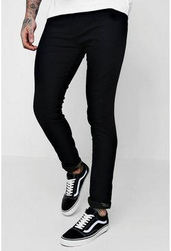 Skinny Fit Jeans With Camo Turn Ups, Black, Uomo