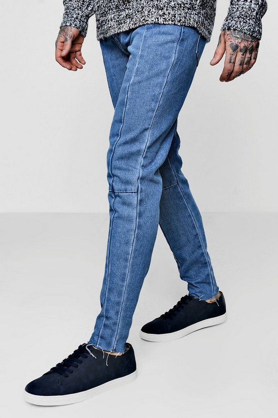 Skinny Fit Seam Detail Jeans With Raw Hem