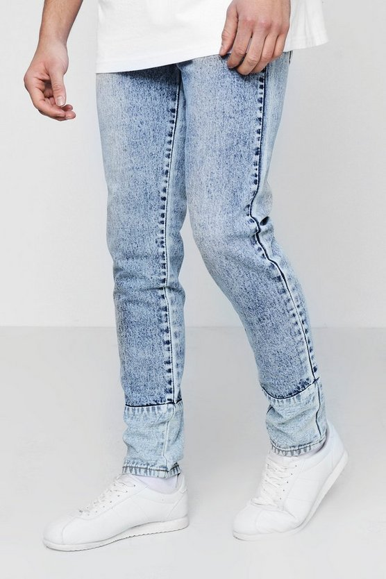 Skinny Fit Acid Wash Jeans With Panelled Hem