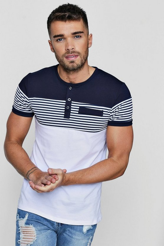 Muscle Fit Grandad Collar Panelled T-Shirt