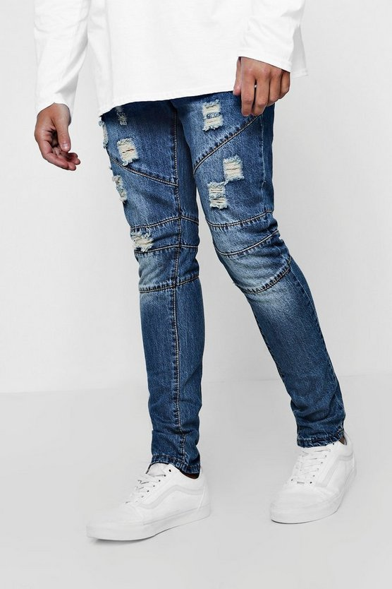 Skinny Fit Rigid Jeans With Biker Panelling