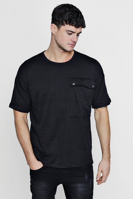 Oversized Slub T-Shirt With Pocket