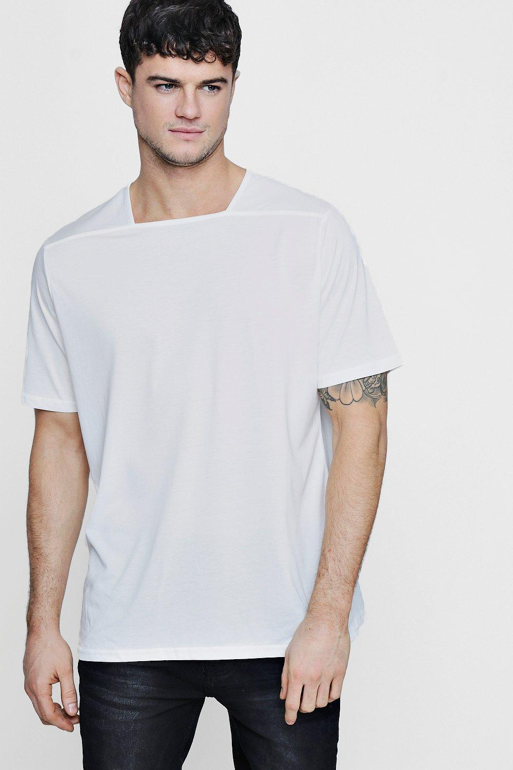 82792b1a3 Mens White Collarless Square Neck T-Shirt. Hover to zoom