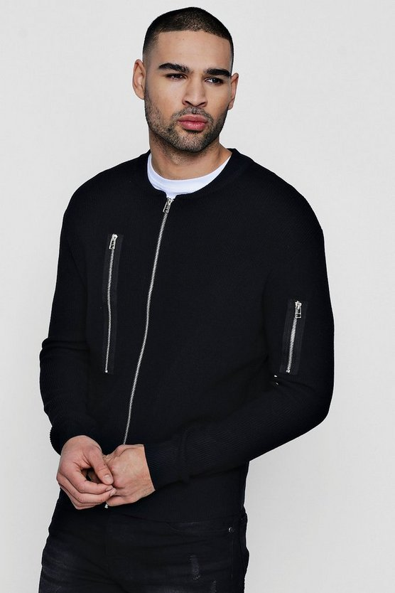 MA1 Zip Though Knitted Bomber