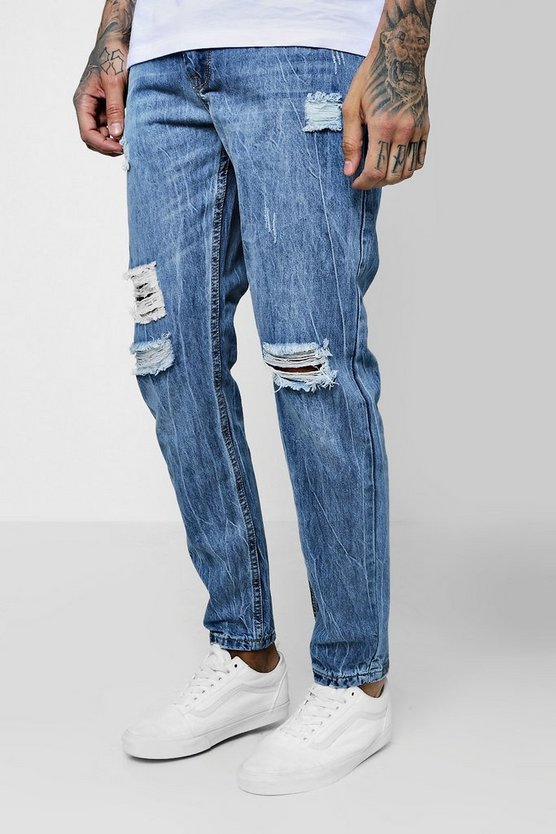 Skinny Fit Rigid Jeans With Ripped Knees