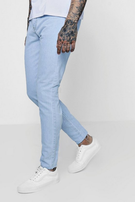 Mens Light blue Skinny Fit Rigid Jeans With Raw Hem