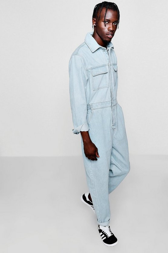 Long Sleeve Double Pocket Denim Boiler Suit