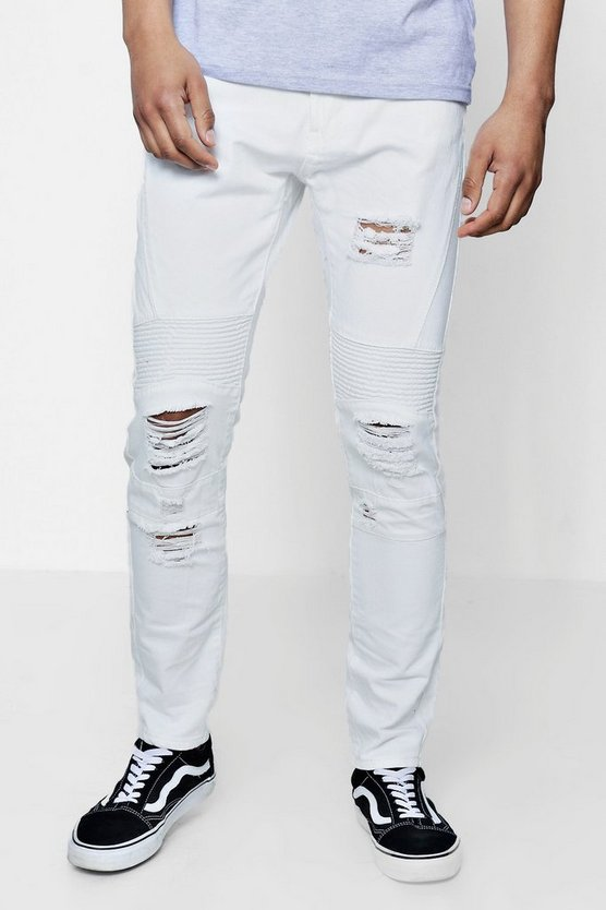 Skinny Fit Rigid Biker Jeans With Ripped Knees