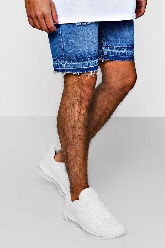 Mens Blue Slim Fit Denim Shorts With Let Down Hem