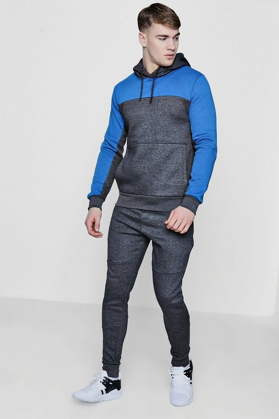 Colour Block Hooded Tracksuit