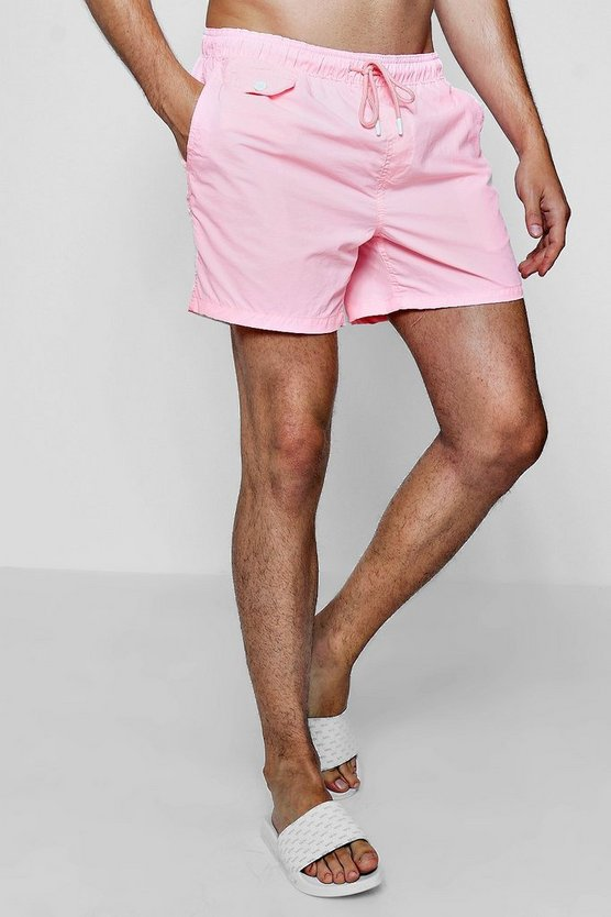 Neon Swim Shorts With Printed Waistband