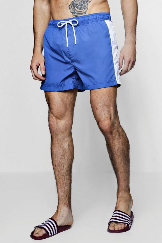 Mens Blue Contrast Side Stripe Swim Shorts