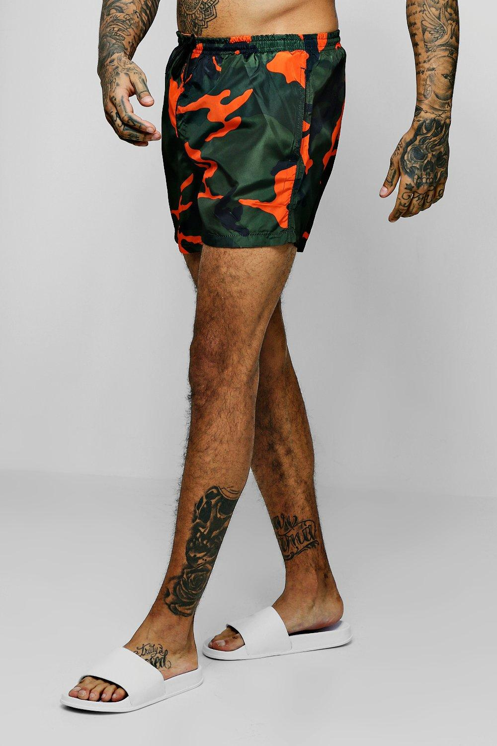 Orange Camo Print Swim Shorts
