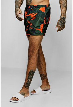 Mens Orange Camo Print Swim Shorts